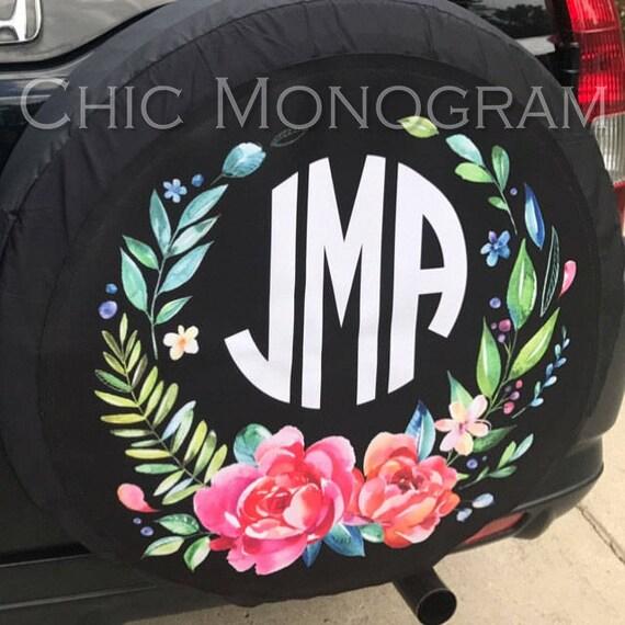 Monogrammed Spare Tire Cover Classy Black Floral Spare Tire Cover Custom Monogram Tire Cover Jeep Wrangler Accessories Jeep Tire Cover