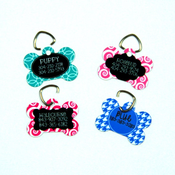 Pet Tag ID Tag Pets Cats Dogs Dog Tag Personalized Cat Tag Monogram Greek Keys Dog Gift