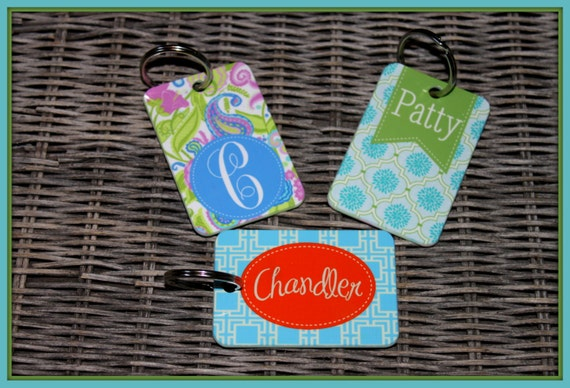 Monogram Key Chain Key Ring Personalized Custom Key Chain Monogrammed Gifts Sweet 16 New Car Luggage Bag Tag Cute Car Accessories For Women