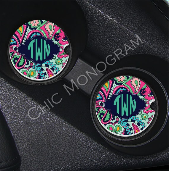 Monogram Car Coasters Cup Holder Coasters Design Your Own Personalized Sandstone Coasters Car Accessories Mothers Day Lilly Inspired Jewels