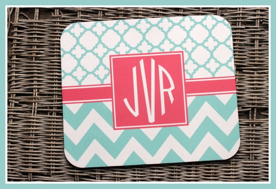 TWO Pattern Mouse Pad Monogrammed Gifts Personalized Mousepad Chevron Computer Geekery Custom Desk Coworker Gifts Office Gifts Tiffany