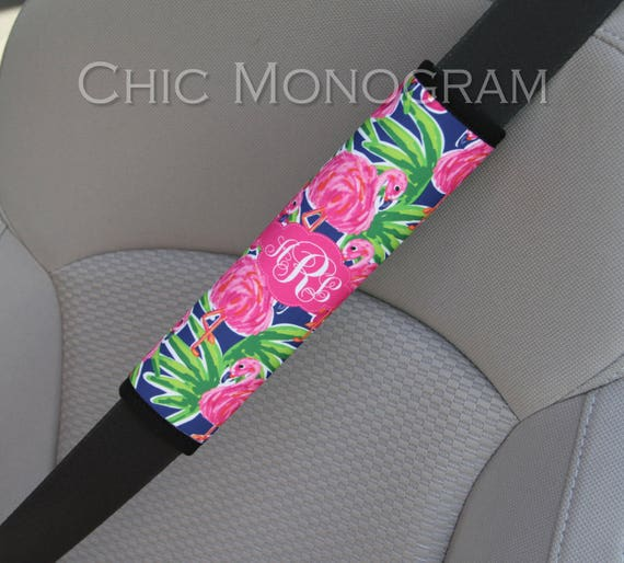 Monogrammed Seat Belt Cover, Personalized Custom Preppy Lilly Inspired Cute Car Accessories for Women Seatbelt Cover Seat Belt Pad Flamingo