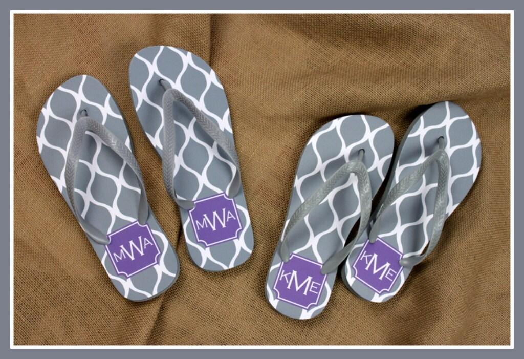 e40ab1b724d9 Flip Flops Monogrammed Gift Bridal Party Bachelorette Party Wedding ...