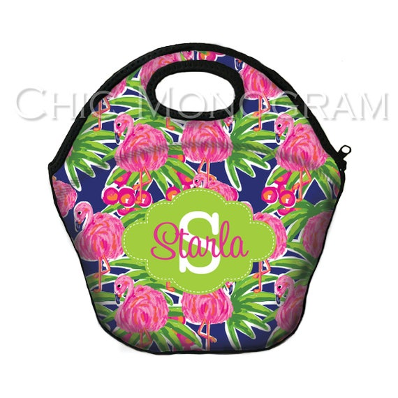 Insulated Lunch Bag Monogrammed Lunch Box Lunch Tote Pink Flamingo Personalized Lunchbox For Women Custom Monogram Lunch Bag Monogrammed