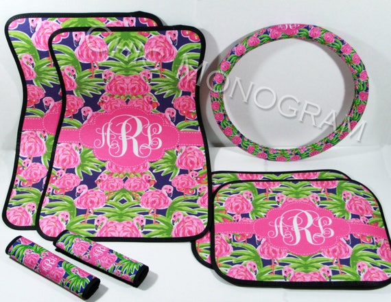 Preppy Floral Flamingo  Lilly Car Accessories Steering Wheel Cover Seat Belt Covers, Mothers Day Personalized Custom Monogram Carmats
