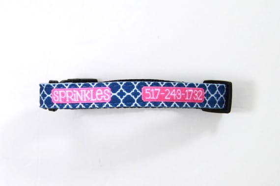 Personalized Dog Collar Dog Tag Pet ID Tag Combination Set Adjustable Custom Dog Collar Personalized Monogrammed ID Gift Pet Lover Preppy