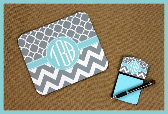 Mouse Pad Sticky Note Holder Monogrammed Gifts Personalized Mousepad  Computer Accessories Geekery Custom Desk Coworker Gifts Office Gifts