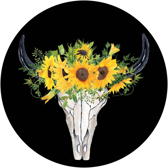 Sunflower Deer Cow Skull Tire Cover Sunflowers Spare Tire Cover Custom  Monogrammed Jeep Wrangler Accessories Jeep Tire Cover For Car