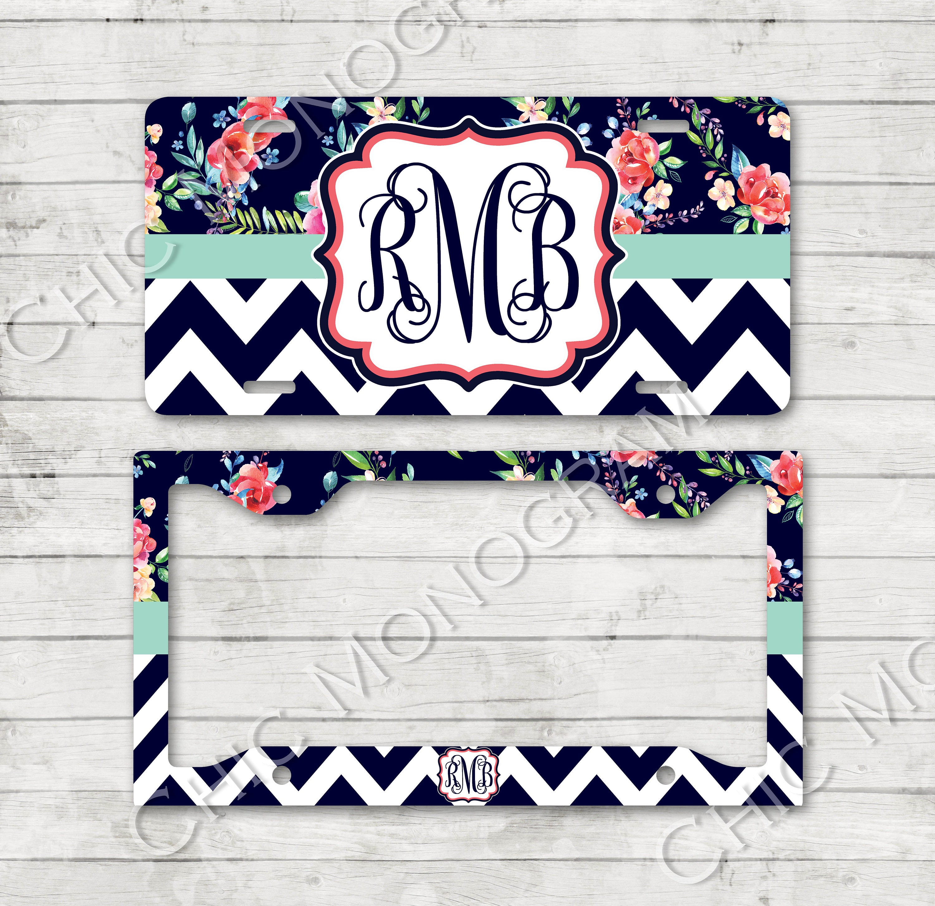 Monogramed License Plate & License Plate Frame Floral Chevron with ...