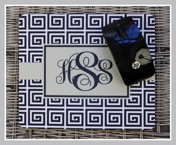 Mouse Pad Monogrammed Gifts Personalized Mousepad Greek Keys Computer Accessories Geekery Custom Desk Coworker Gifts Office Gifts Black