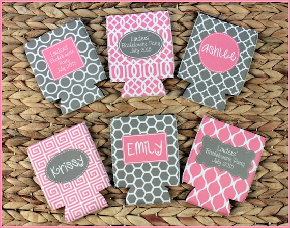 Bachelorette Party Favors, Personalized Custom Can Coolers, Monogram Beverage Insulators, Bridal Party Gifts, Beer Can Huggers, Beer Cozy