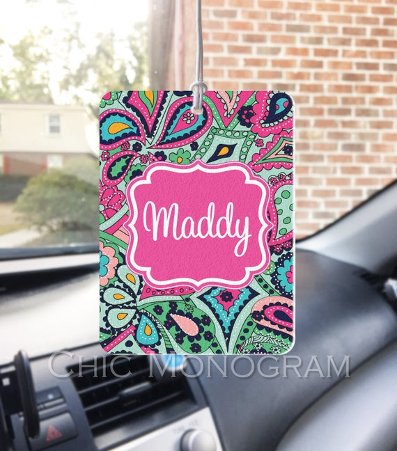 Rear View Mirror Air Freshener Car Monogrammed Auto Air Freshner Personalized Lilly Inspired Custom Designed Car Accessories Paisley Jewels