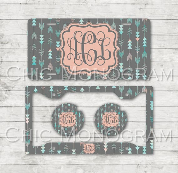 Aztec Tribal Monogram License Plate Car Coasters License Plate Frame Custom Monogrammed Aztec Car Tag Tribal Cup Holder Coasters Arrows