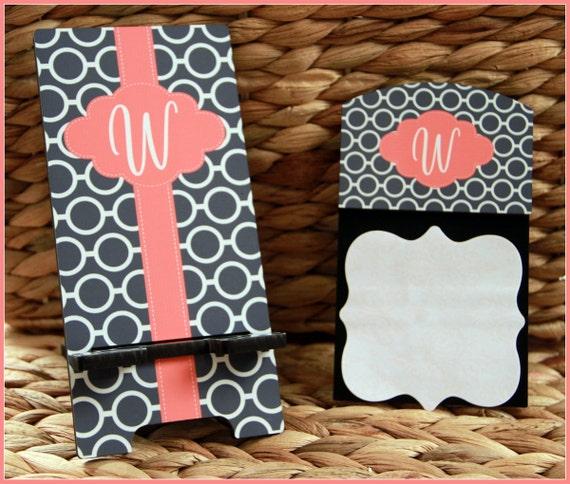 Thank You Gifts for Teachers, Cell Phone Stand and Matching Sticky Note Holder Monogrammed Gift Personalized Teacher Gifts Appreciation Gift