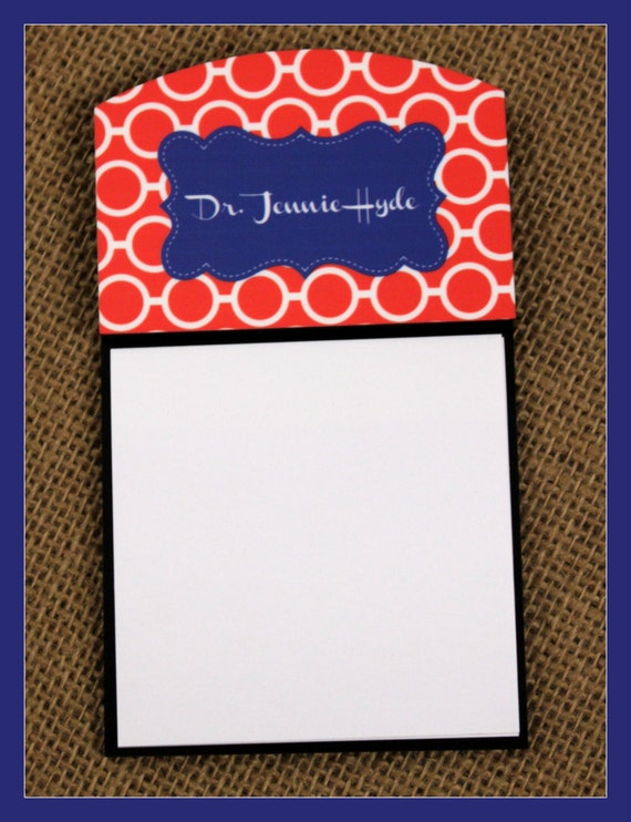 Sticky Note Holder Office Accessories Monogrammed Personalized Desk Co-Worker Gift Chevron