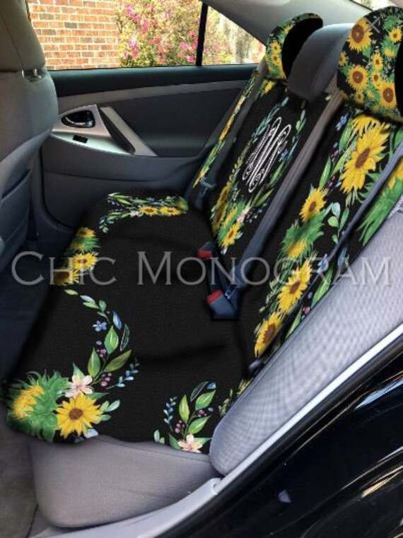 Dust Proof Cover FOR U DESIGNS Vintage Sunflower Letter Art Print Car Seat Headrest Cover for Women 2 Pcs Set Auto Interior Seat Accessiores Protection and Decoration