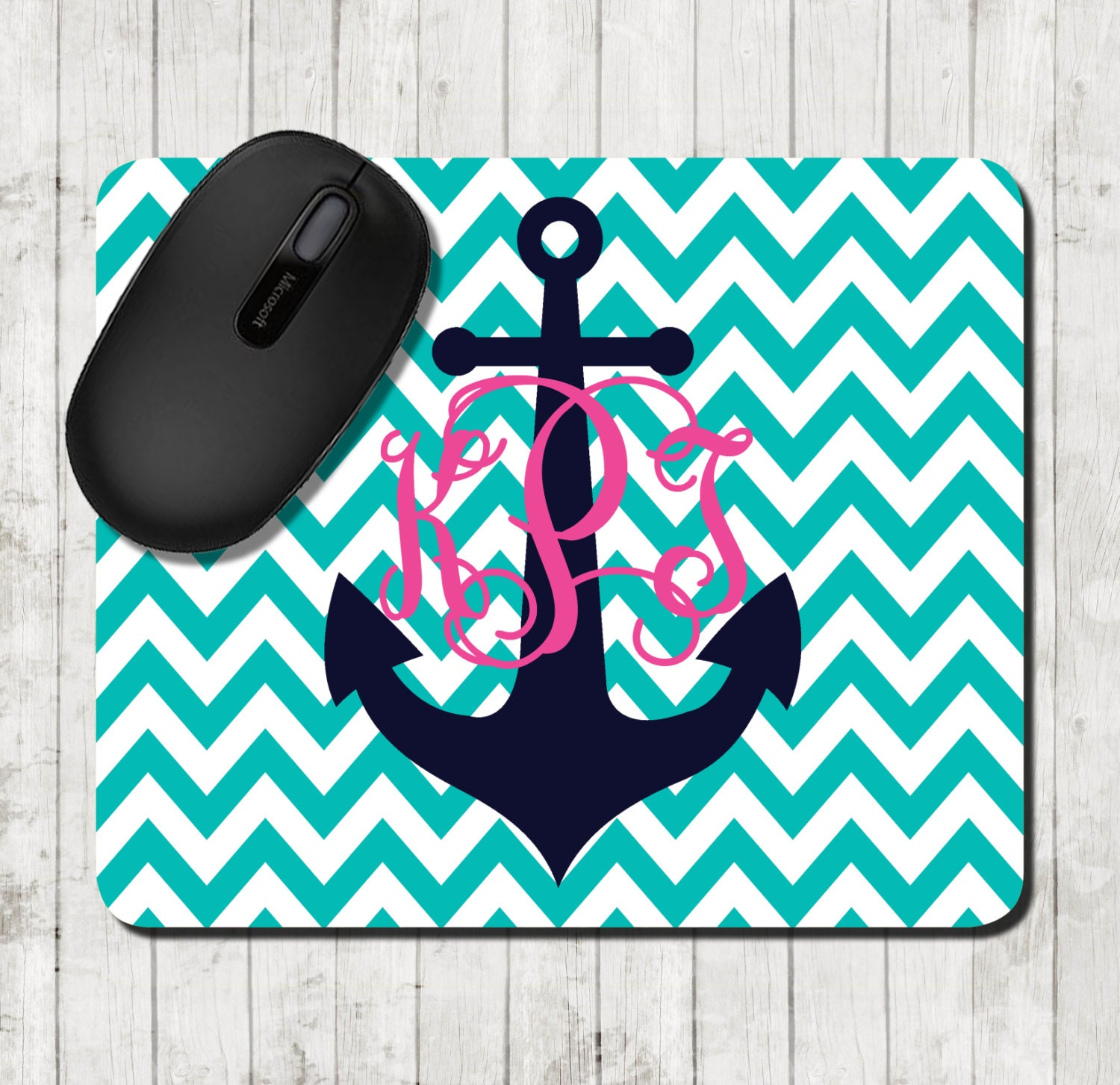 nautical mouse pad personalized mousepad chevron preppy office gifts