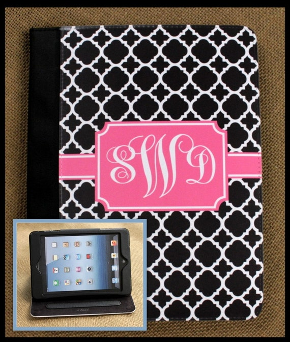 iPad Air iPad 2 iPad 3 Air iPad Mini Case Folio Cover Masker Monogrammed Personalized Custom Adjustable Angle View Stand Notebook Case