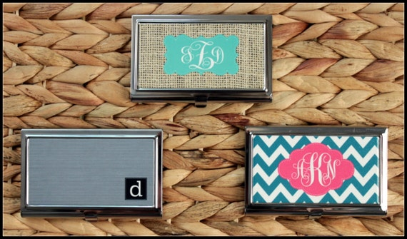 Gifts for Co Workers Custom Business Card Case, Personalized Business Card Case, Monogrammed Business Card Case, Personalized Gift Coworkers