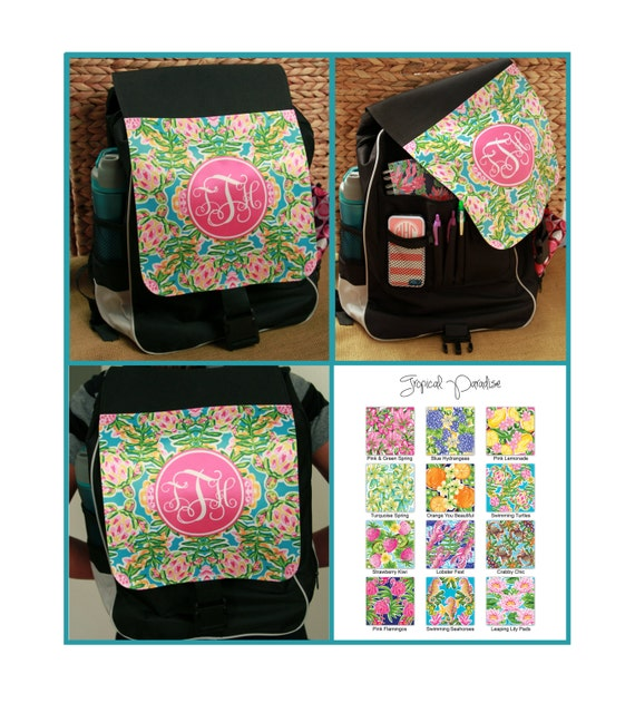 Monogram Backpack Preppy Floral Nautical Turtles Lilly Inspired Personalized Girls School Back Pack Custom Book Bag Monogrammed Gifts