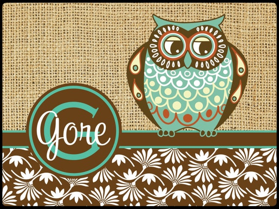 Gift for Grandma Personalized Owl Door Mat Rug Burlap Look Rustic Monogrammed Doormat Custom Door Mat Personalized Doormat Owl