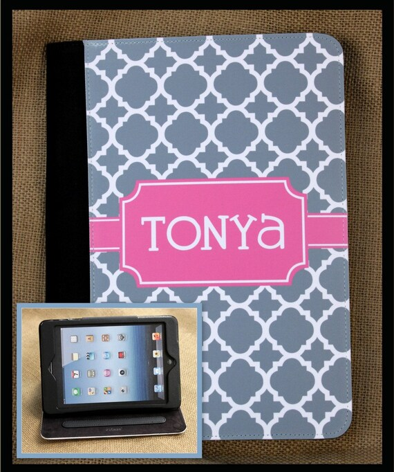 iPad Air iPad 2 iPad 3 iPad Air iPad Mini Case Cover Folio Monogrammed Personalized Custom Adjustable Angle View Stand Notebook Case