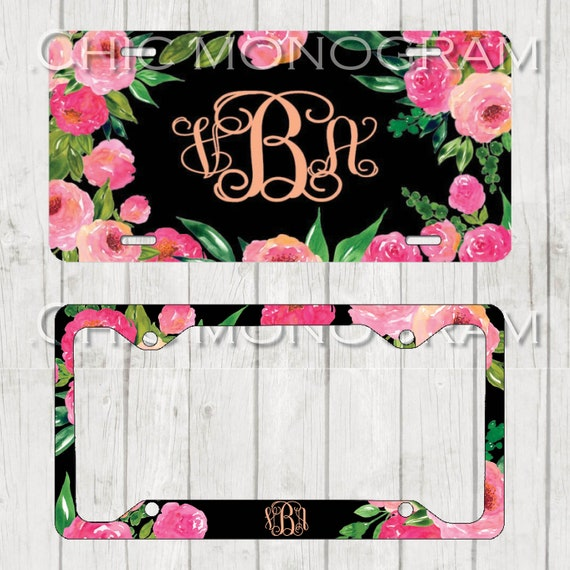 Rose Monogrammed Car Tag Roses Floral License Plate Frame License Plate Holder Personalized Car Tag  Gifts for Bridal Shower