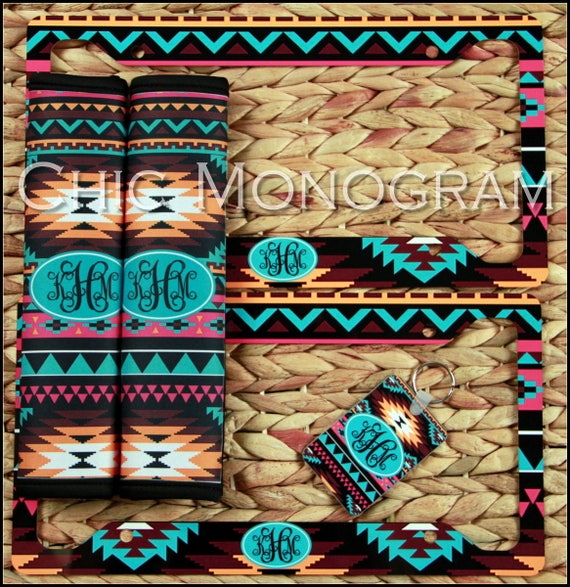 Coche tribales aztecas accesorios Set coche esteras placa | Etsy