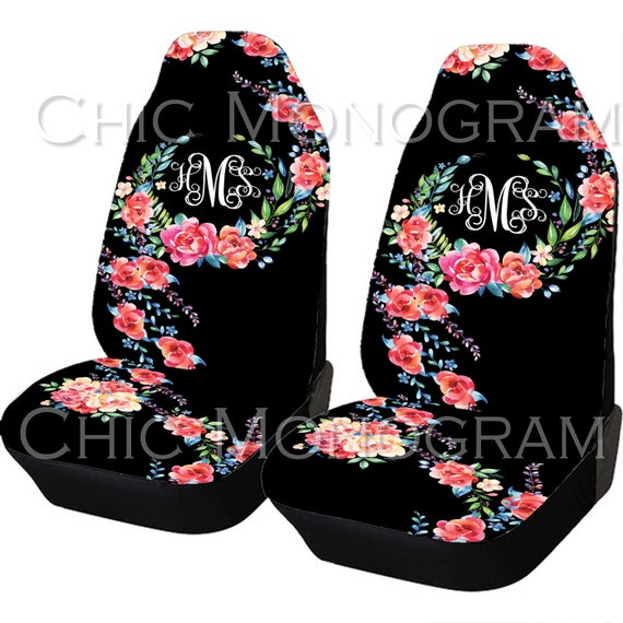 Classy Black Floral Car Seat Covers Set Of Two Front