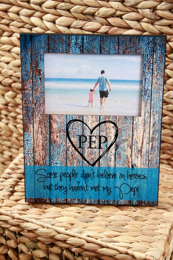 First Father's Day Gift Custom Photo Frame Gift for Grandpa Personalized Picture Frame Rustic Wood Look Custom 8 x 10 w/ 4 x 6