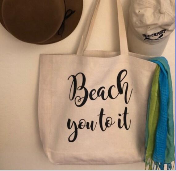 Linen Beach Bag Shopping Bag Tote Grocery  Bag, Suitcase Beach Towel  Carry-On Luggage  Handle Purse Handbag School Supplies Rustic Simple