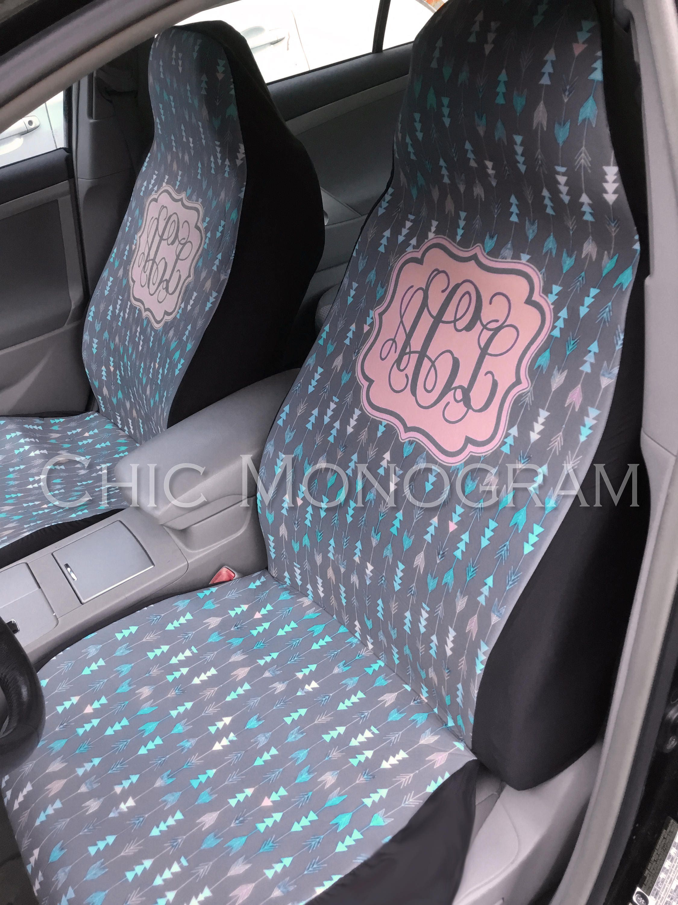 Aztec Car Seat Covers Set Of Two Front Tribal Monogrammed Personalized Accessories For Vehicle