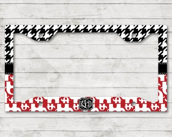 Elephant Houndstooth Alabama License Plate Frame Cover Holder Custom Monogrammed Personalized Sweet 16 Gift Graduation New Car Accessories
