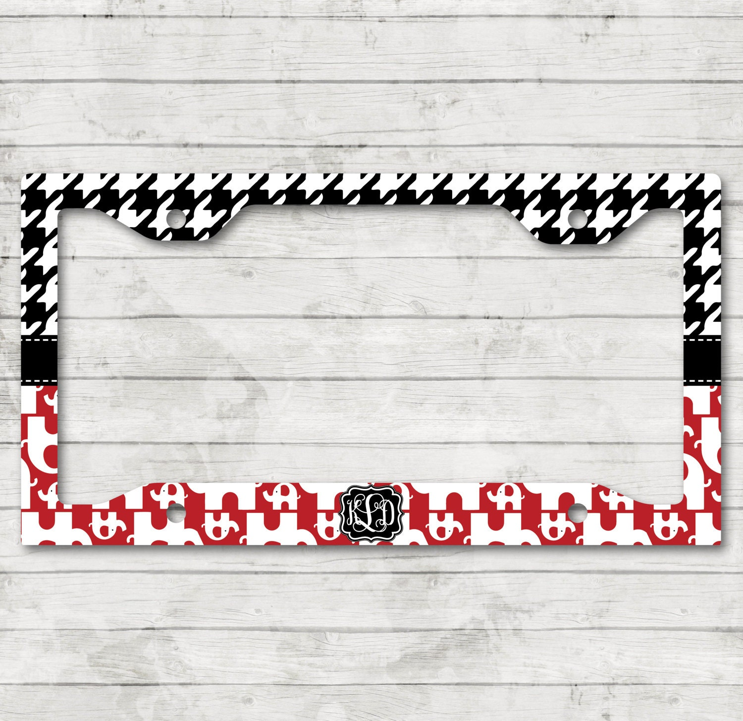 Elephant Houndstooth Alabama License Plate Frame Cover Holder Custom ...