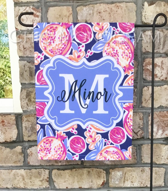 Personalized Gift for Mom Gifts for Grandma Spring Garden Flag Welcome Flag Monogram Outdoor Garden Decor Yard Decor Custom Flag Pomegranate