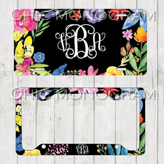 Boho Monogrammed Car Tag Boho Floral License Plate Frame License Plate Holder Personalized Car Tag  Gifts for Bridal Shower