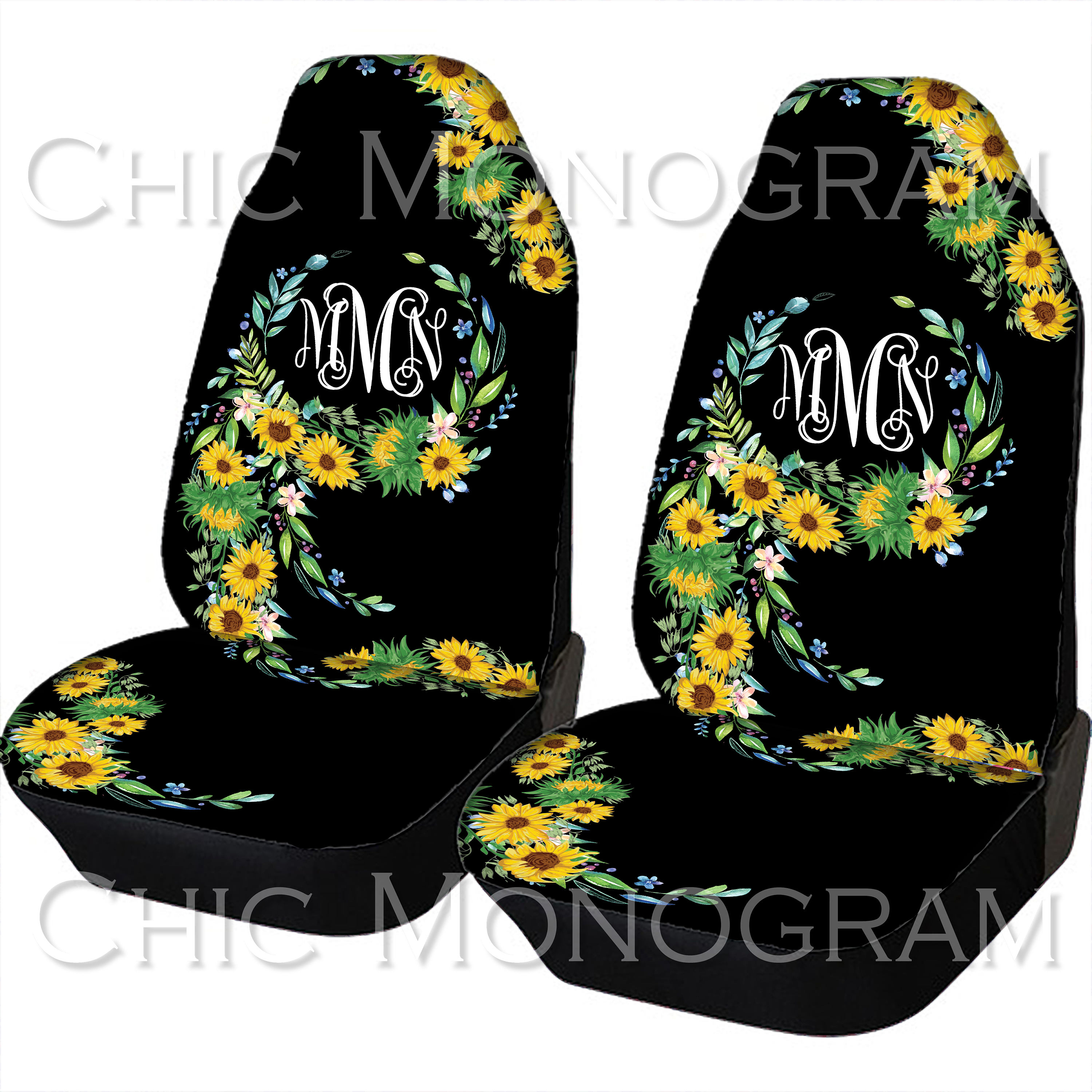 Sunflower Car Seat Covers Sunflowers Front Monogram Personalized For Vehicle