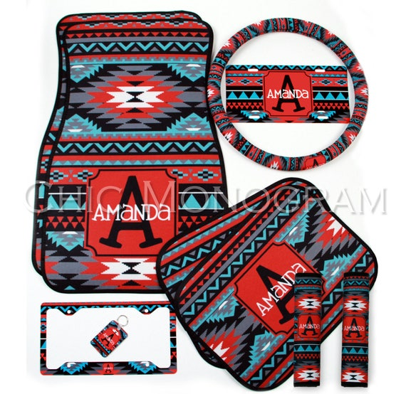 Aztec Tribal Car Accessories MIX AND MATCH Personalized Car Mats Steering Wheel Cover License Plate & Frame Seat Belt Covers Key Chain