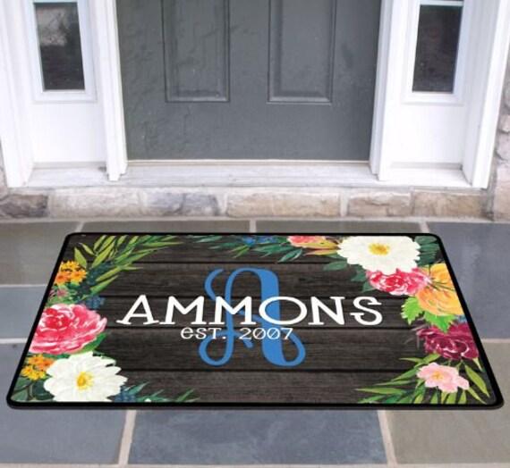 New Home Gift Elegant Floral Family Front Door Mat Doormat Monogrammed Gifts Personalized Custom Rug Monogram Doormat Welcome Housewarming