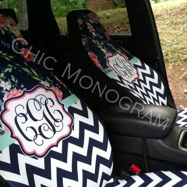 Floral Chevron Car Seat Covers Set Of Two Front Monogrammed Personalized Accessories For Vehicle
