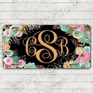 License Plate Monogrammed Gifts Personalized Tag Car Accessories Fleur de Lis Mobile Accessories Gift Ideas For Her Travel Sweet 16 Chevron