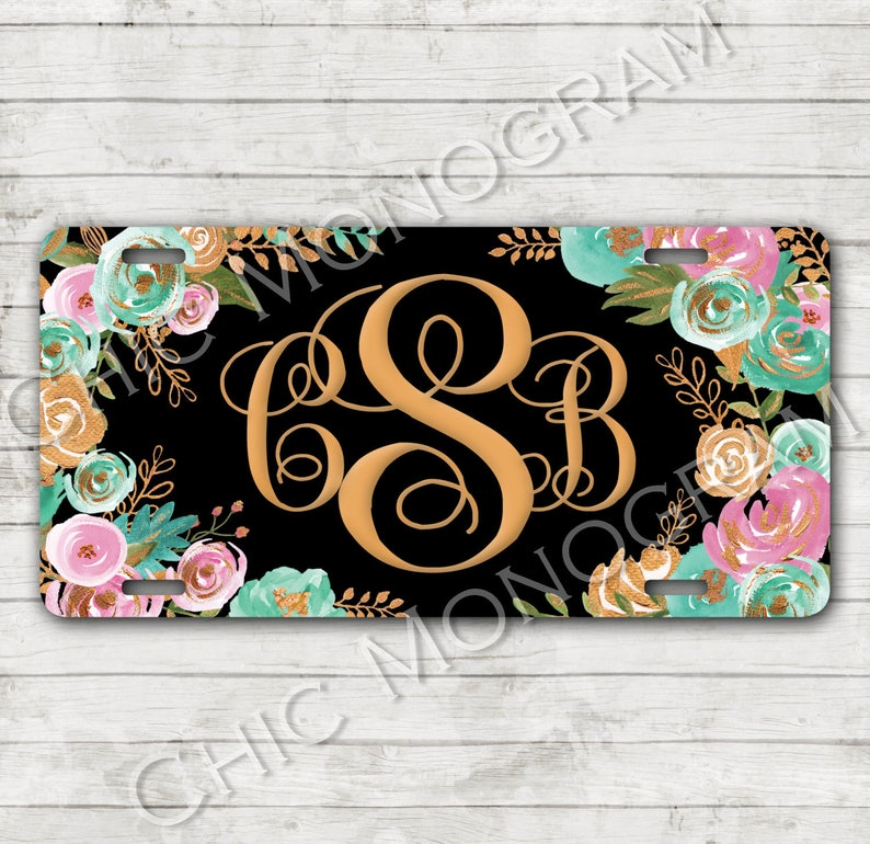 Classy Mint Gold Floral Front License Plate Personalized Monogrammed Car Tag Car Accessories Gift Sweet 16 Cute Car Accessories For Women