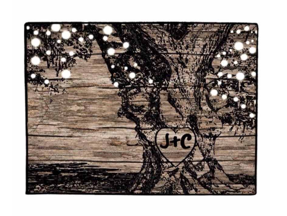 Door Mat Rustic Tree With Glowing Lights Doormat Personalized