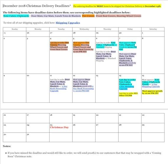 December 2018 Deadlines