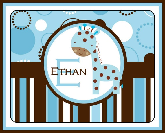Nursery Rug Personalized Monogrammed Gifts New Baby Gift Nursery Decor Baby Girl Baby Boy Nursery Rug Mat Customized Giraffe Nursery Art