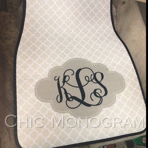 Beige Quatrefoil Monogrammed Car Mats Monogram Carmats Car Floor Mats Custom Car Accessories For Her Car Decor Cute Car Accessories Tan Car