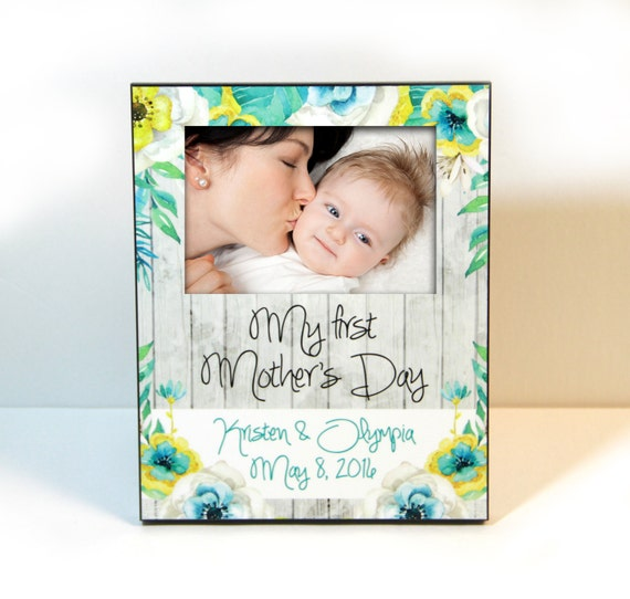 First Mothers Day Gift Mother's Day Gifts For Mom New Mom Gift Personalized Picture Frame Rustic Floral Custom Designed 8 x 10 w/ 4 x 6