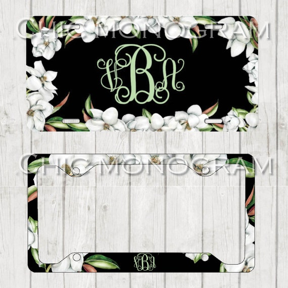 Magnolia Monogrammed Car Tag Magnolia Floral License Plate Frame License Plate Holder Personalized Car Tag  Gifts for Bridal Shower Wreath