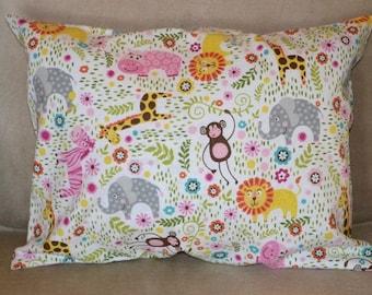 Travel Pillow Case / Child Pillow Case in Flannel ELEPHANTS / ZEBRAS / LIONS / Monkeys / Giraffes / Hippos