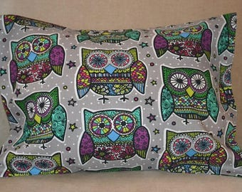 Travel Pillow Case / Child Pillow Case of COLORFUL OWLS / Day of the Dead / Owl Decor